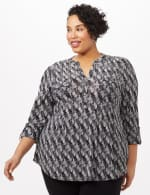 Geo Knit Popover Top - Black/White - Front