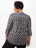 Geo Knit Popover Top - Black/White - Back