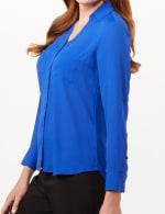Roll Tab Button Front Woven Top Shirt - Marine Blue - Detail