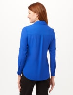 Roll Tab Button Front Woven Top Shirt - Marine Blue - Back