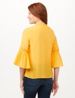 V-Neck Crochet Trim Texture Top - Yellow - Back