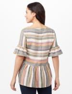 Multi Stripe Linen Top - Multi - Back