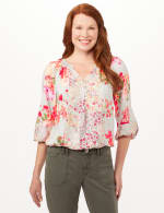 Twin Floral Peasant Top - Cool Coral - Front