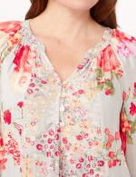 Twin Floral Peasant Top - Cool Coral - Detail