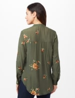 Embroidered Button Front Shirt - Olive - Back