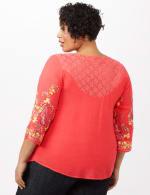 Embroidered Sleeve Texture Blouse - Orange - Back