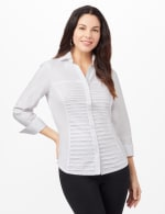 Ultimate Fit Button Front Shirt - White - Front