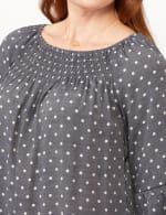 Smock Neck Texture Top - Navy/Sugarswizzle - Detail