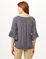 Smock Neck Texture Top - Navy/Sugarswizzle - Back