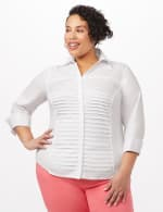 Ultimate Fit Button Front Shirt - Plus - White - Front