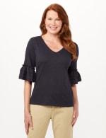 Ruffle Sleeve V-Neck Texture Knit Top - 1