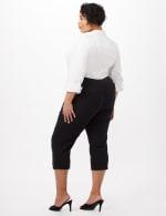 Pull-On Grommet Trim Crop Pants - Plus - Black - Back