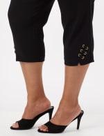 Pull-On Grommet Trim Crop Pants - Plus - Black - Detail
