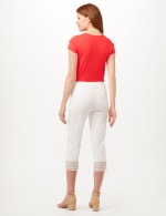 Pull-On Crop Pants with Crotchet Hem Detail - Optic White - Back