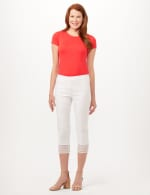 Pull-On Crop Pants with Crotchet Hem Detail - Optic White - Front