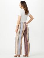 Stripe Slub Wide Leg Pull On Pant - Gold/Wine - Back