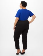 Pull-On Grommet Trim Crop Pants- Plus - Black - Back