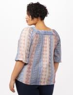 Square Neck Textured Peasant Top - Peacoat - Back