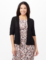 Elbow Sleeve Pointelle Cardigan - Black - Front