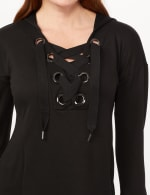 Long Sleeve Lace-up Knit Hoodie with Large Grommets - Black - Detail
