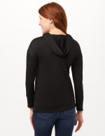 Long Sleeve Lace-up Knit Hoodie with Large Grommets - Black - Back
