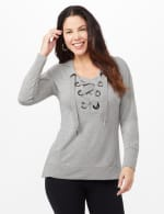Long Sleeve Lace-up Knit Hoodie with Large Grommets - Heather Grey - Front