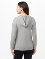 Long Sleeve Lace-up Knit Hoodie with Large Grommets - Heather Grey - Back
