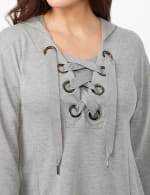 Long Sleeve Lace-up Knit Hoodie with Large Grommets - Heather Grey - Detail