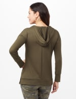 Long Sleeve Lace-up Knit Hoodie with Large Grommets - Jungle Drab - Back
