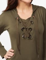 Long Sleeve Lace-up Knit Hoodie with Large Grommets - Jungle Drab - Detail