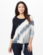 Long Sleeve Tie Dye Tie Front Knit Top - Black/Grey/White - Front