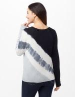 Long Sleeve Tie Dye Tie Front Knit Top - Black/Grey/White - Back