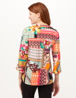 Roll Tab Popover Knit Top - Multi - Back