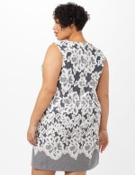 Lace Puff Print Scuba Dress - Plus - Navy/Ivory - Back