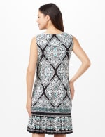 Medallion Puff Print with Pleat Hem Dress - Black/Aqua - Back