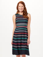 Stripe Fit and Flare Scuba Dress - Navy/Multi - Front