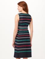 Stripe Fit and Flare Scuba Dress - Navy/Multi - Back