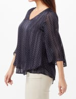 Pindot Double Layer Blouse with Slit Back - Navy - Detail