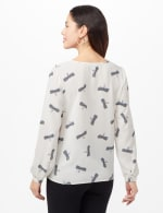 Dragonfly Texture Tie Front Blouse - Ivory - Back