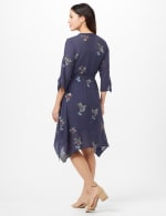 Tie Sleeve Embroidered Texture Shirt Dress - Navy - Back