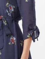 Tie Sleeve Embroidered Texture Shirt Dress - Navy - Detail
