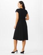 Faux Wrap Knit Crepe Dress - Mustard - Back