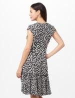 Faux Wrap Ruffle Hem Dress - Black/Ivory - Back