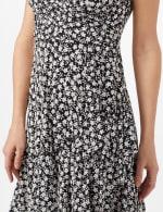 Faux Wrap Ruffle Hem Dress - Black/Ivory - Detail