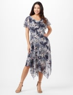 Floral Chiffon Drape Neck Hanky Hem Dress - Navy/Mauve - Front
