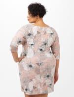 Faux Wrap Tie Waist Floral Dress - Pink /Cream - Back