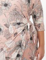 Faux Wrap Tie Waist Floral Dress - Pink /Cream - Detail