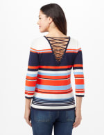 Stripe Lace-Up Back Sweater - Stripe - Back