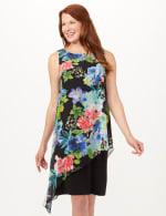 Asymmetrical Floral Chiffon Overlay Dress - Black - Front