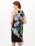 Asymmetrical Floral Chiffon Overlay Dress - Black - Back